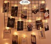LED Lichtslinger voor Foto's of Kerstkaarten - 2 Meter - Warm Wit- geleverd in wit doosje