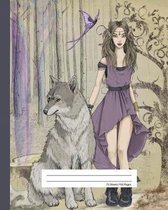 Composition Notebook Quad Ruled Graph Paper - Wild Dire Wolf & Elf Princess