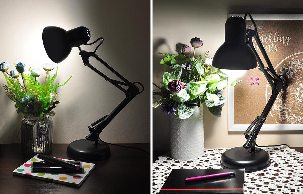 Staande Verstelbare Burolamp Klassiek Retro Design LED Leeslamp Boeklamp Buro Laptop PC Verlichting Tafellamp Zwart