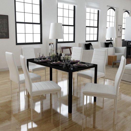 Design Tafel Met 6 Stoelen.Bol Com Vidaxl Eethoek Met 6 Witte Stoelen 1 Tafel Modern Design