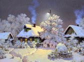 Schilderen op nummer Huisjes in de sneeuw - 40 x 50 centimeter