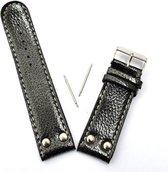 Zwart kunstleer Horlogebandje / Horloge band 2.35 cm breedte (Lengte - 12.5 cm + 7.5 cm) - Inclusief 2 telescopen koppelstukken
