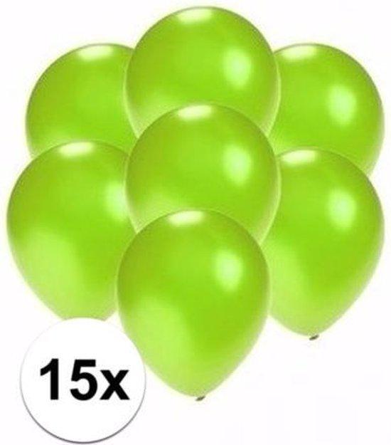 Kleine metallic groene ballonnen 15x stuks van 13 cm - Feestartikelen en versieringen