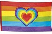 Regenboog met hartje vlag 90 x 150 cm