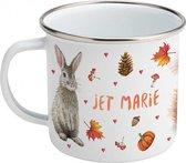 Emaille mok met naam - Konijn eekhoorn hertje - Gepersonaliseerde drinkbeker - Herfstdecoraties - Herfstdieren in aquarel - Geschilderd door Mies