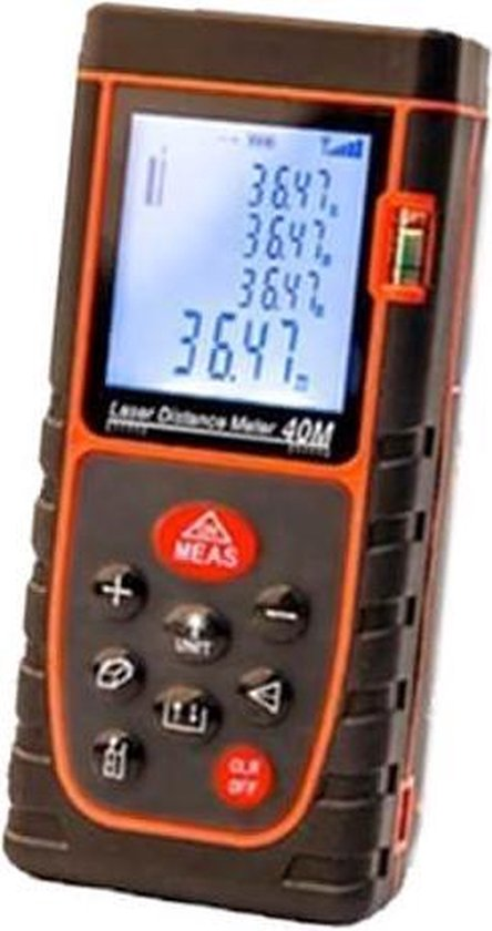 FEDEC Laser afstandsmeter 40m - Tot 2 mm nauwkeurig - 635 laserdiode