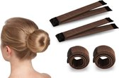 Fashion Favorite | Magic Bun Maker | Set - 2 stuks + Haarelastiek | Bruin | Maak De Perfecte Knot