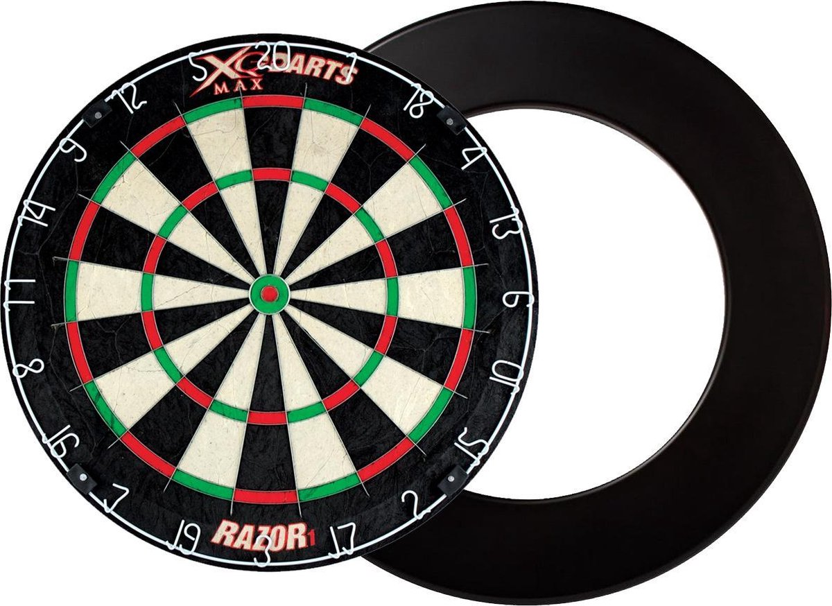 XQ Max - Razor 1 Bristle - dartbord - inclusief - dartbord surround ring - zwart