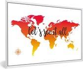 Foto in lijst - Wereldkaart met zonsondergang kleuren en de zwarte tekst fotolijst wit 60x40 cm - Poster in lijst (Wanddecoratie woonkamer / slaapkamer)