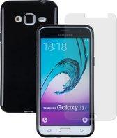 MP Case dark tpu case hoesje voor Samsung Galaxy J3 2016 (J320F) en gratis glasfolie tempered screen protector gehard glas voor Samsung Galaxy J3 2016 (J320F)