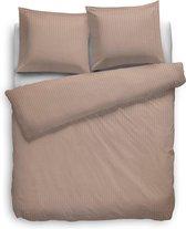 Heckett Lane Uni Stripe - Licht Zand - Maat: Lits-jumeaux XL (260 x 200/220 cm + 2 kussenslopen)