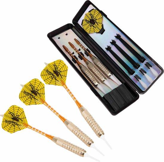 Afbeelding van het spel #DoYourDart - 3x Soft Dartpijlen - YellowSpider - incl. case voor opslag +6x PET Dart flights - perfecte grip, ijzeren barrel | Aluminium shaft gewicht dart: 17.7g - goudkleurig
