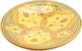 Marokkaanse fruitschaal/ serveerschaal geel H 6 cm Ø 26 cm