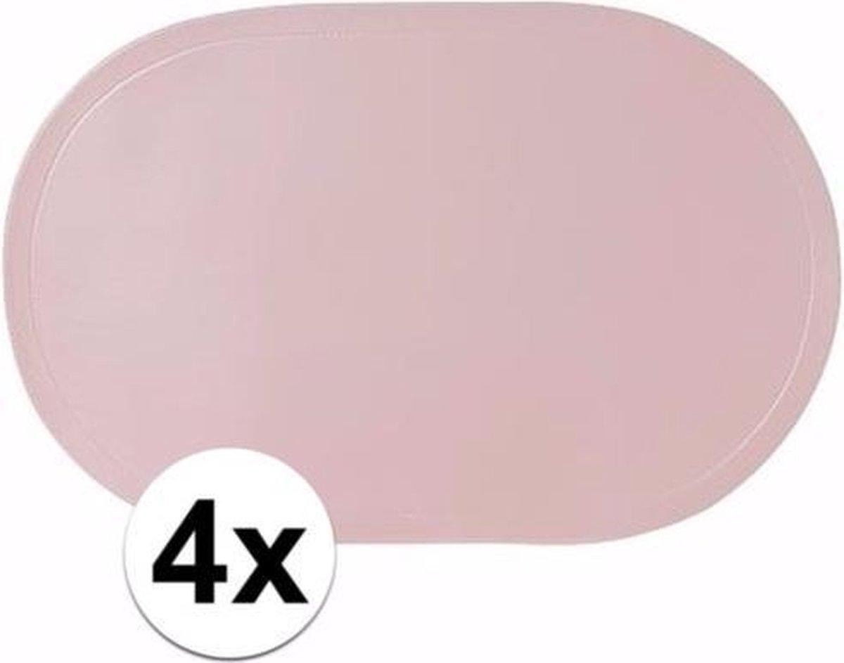 Cosy & Trendy Placemats - Ovaal - 4 stuks - 43 x 28 cm - lichtroze - Cosy&Trendy