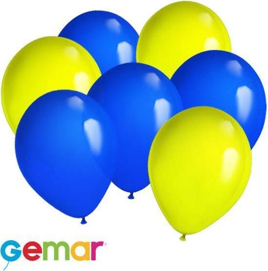 30x Ballonnen Blauw en Geel (Ook geschikt voor Helium)