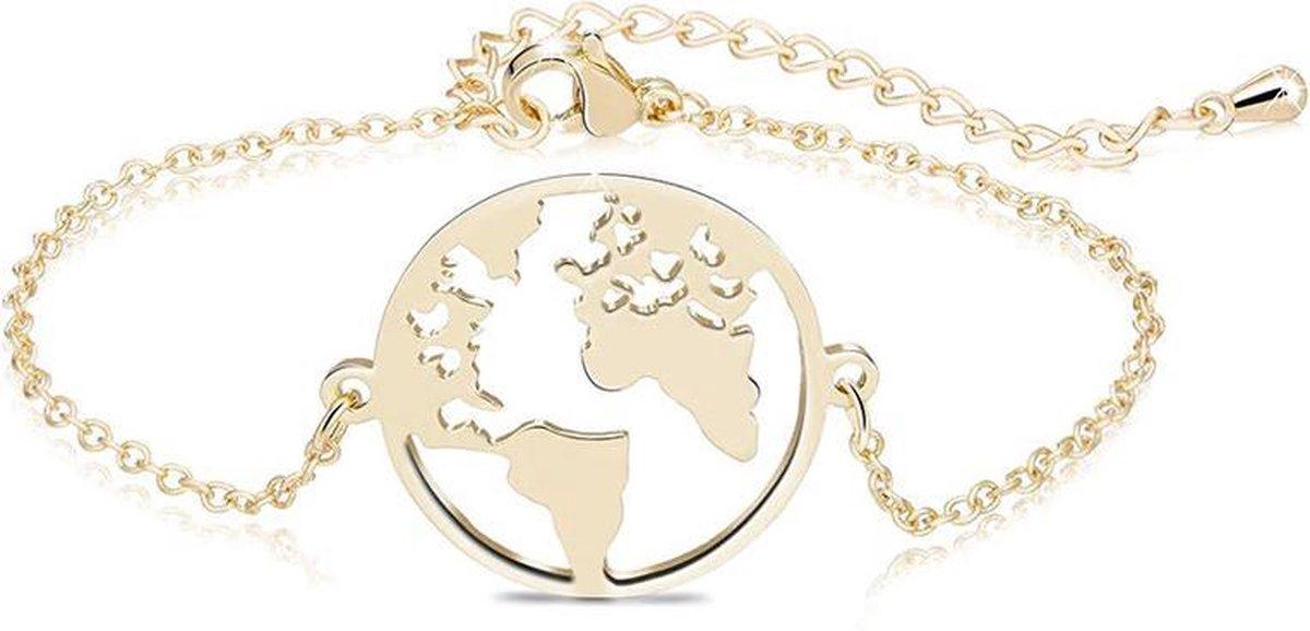 24/7 Jewelry Collection Wereldbol Armband - Wereldkaart - Kaart - Aarde - Wereld - Goudkleurig - Amodi