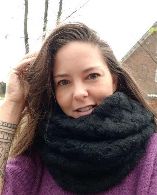 Gebreide col sjaal Snowland Zwart Tube shawl Ronde sjaal - Scarfz