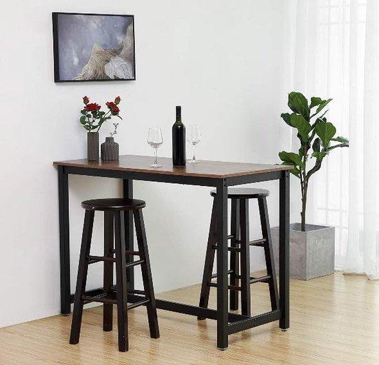 MIRA Home - Bartafel - Keukentafel - Vintage - Metaal/Spaanplaat - Bruin/Zwart - 120x60x90