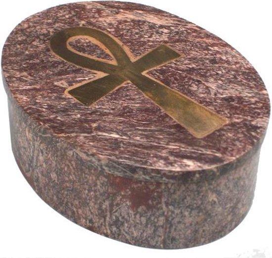 Sierdoosje Ankh zeepsteen ovaal - 10.5x8x3.3 - Zeepsteen (3 stuks)