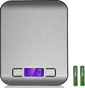 KitchenBrothers Digitale Precisie Keukenweegschaal - RVS - Tarra Functie - Tot 5 kg - incl Batterijen