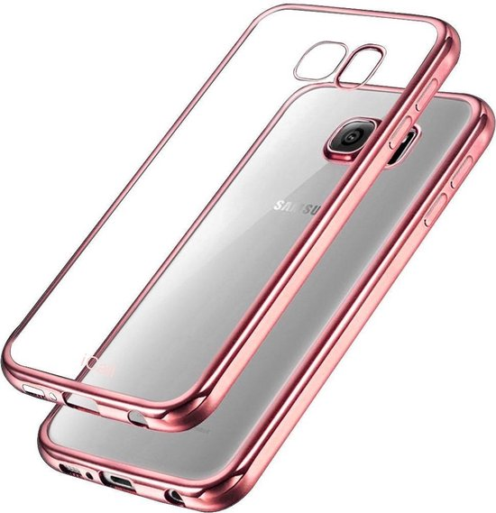Samsung Galaxy S6 Edge - Siliconen Rose Gouden Bumper Electro Plating met Transparante TPU Hoesje (Rose Gold Silicone Hoesje / Cover)