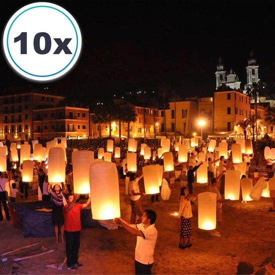 10 x Luxe Witte Thaise wensballonnen vliegende papieren lantaarns ufo ballon zweeflantaarn wens:  VOLANTERNA®