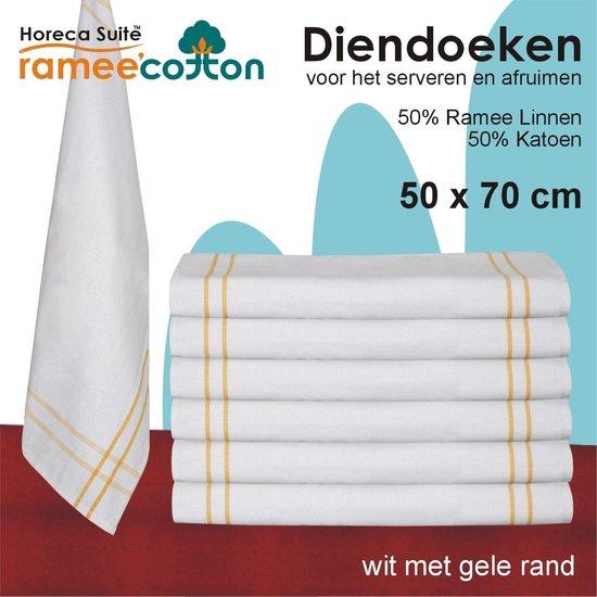 Homéé - Diendoek - Poleerdoek - 50x70cm - 50% katoen 50% ramee 12 stuks - wit met gele rand
