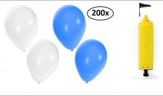 200x Ballonnen blauw/wit met handpomp