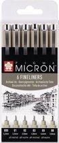 SAKURA Pigma Micron | Fineliners zwart (6 stuks)