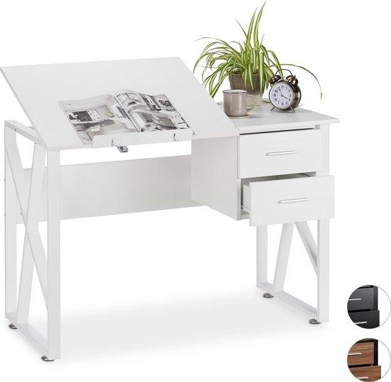 relaxdays bureau kantelbaar - laptoptafel - tekentafel - verstelbaar - computerbureau Wit / wit