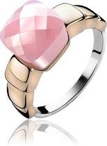 ZINZI ZIR1111R52 - Zilver Rosévergulde Ring - Roze - Maat 52