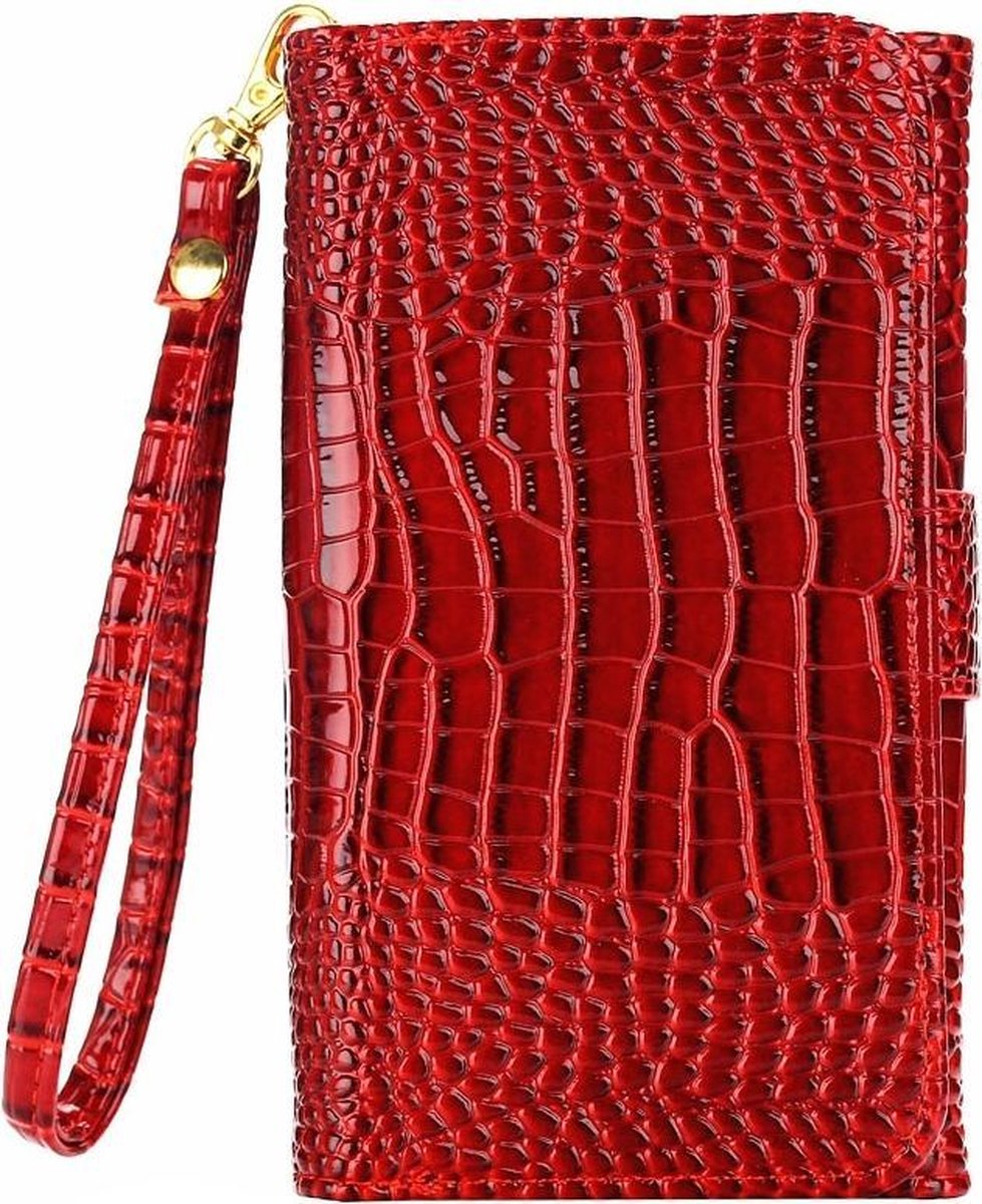 Afbeelding van product Let op type!! 5.0 Inch Universal Crazy Crocodile Texture Carry Cases with Wallet & Card Slots & Lanyard for iPhone 6 & 5 & 5S & 5C Sony Xperia E4 & M4 Aqua(Red)