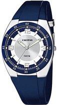 Calypso K5753/2 analoog tiener horloge 40 mm 100 meter blauw/ wit