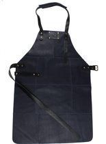 BBQ Schort - Leer - 81x56cm - Blauw