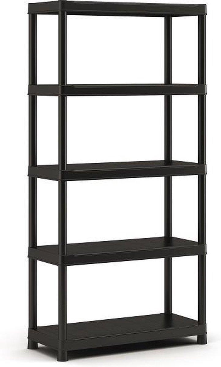 Kunststof opbergrek - Mat zwart - 182 cm hoog - 90cm breed - 55 kg per plank - Geen gereedschap nodi