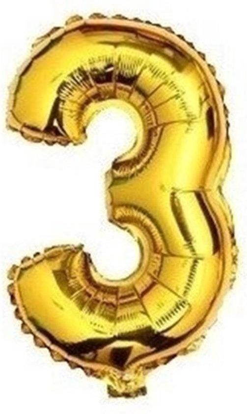 XL nummer 3 folie cijfer ballon goud 100cm / 40inch | nummerballon | cijferballon