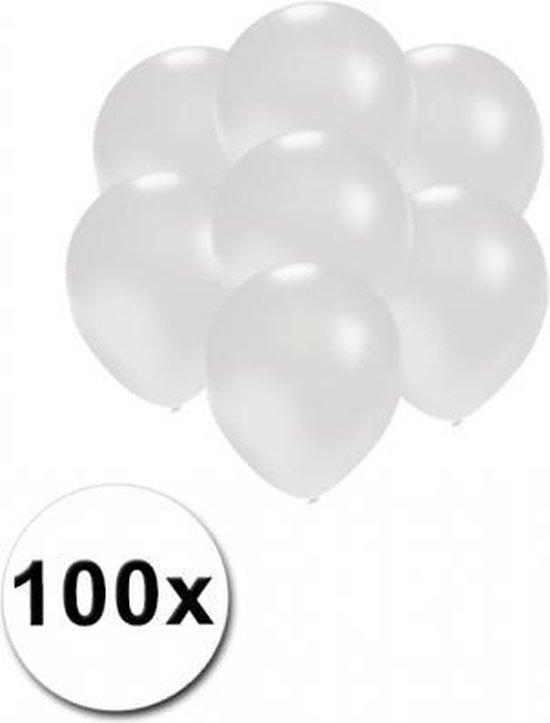 Kleine ballonnen wit metallic 100 stuks