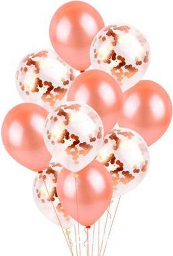 10 confetti ballonnen rosé goud en confetti rosé goud |Ideaal voor feesten, trouwerij, baby shower en verjaardagen