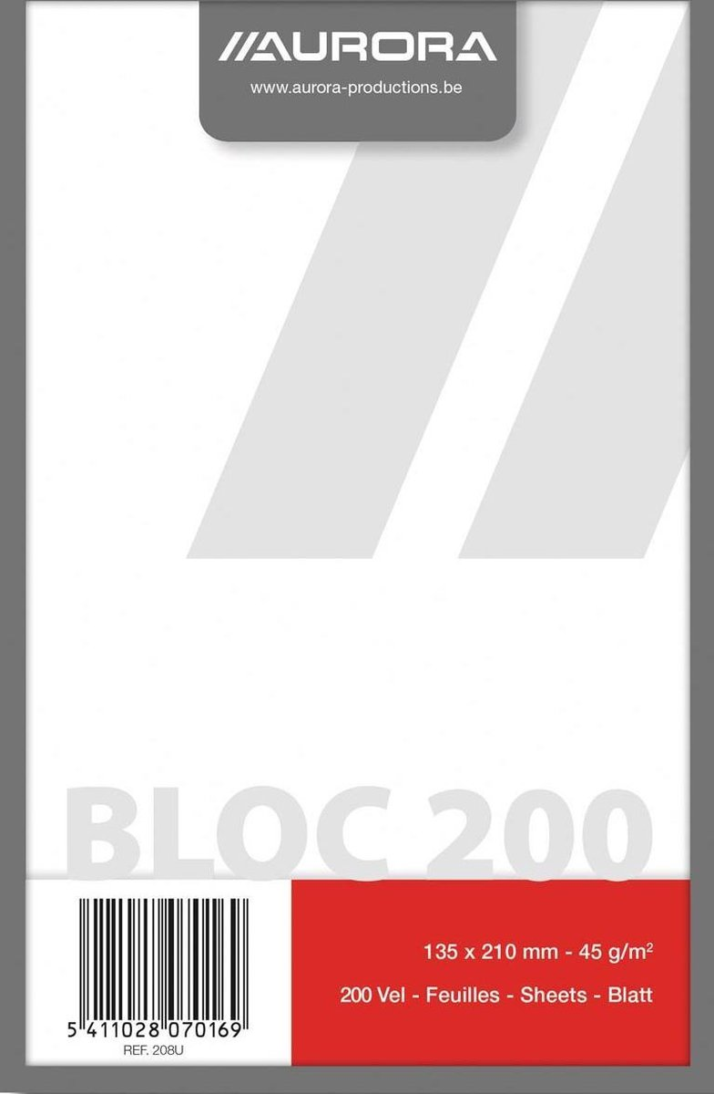 Kladblok formaat 135 x 21 cm effen