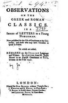 Observations on the Greek and Roman Classics