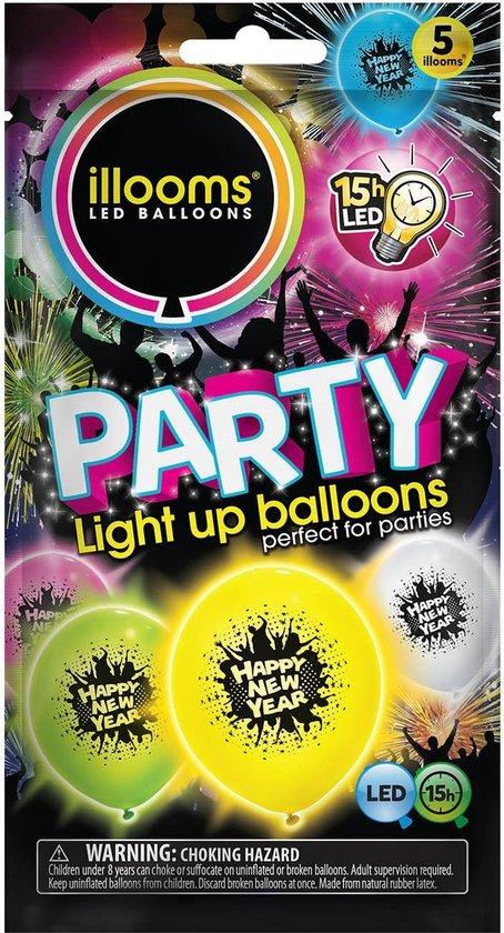 Illooms - Gelukkig Nieuwjaar, Gemengde Displaydozen, 18 Stuks Van 5 Ballonnen (Roze, Groen, Geel, Wit, Blauw)