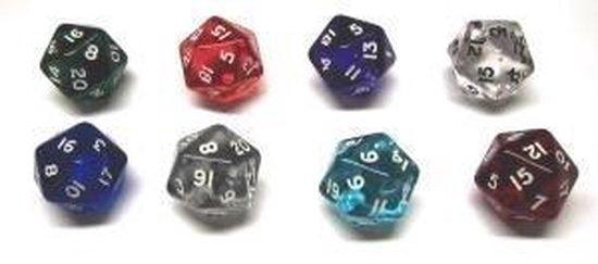 Dobbelsteen acryl 20 kant.6 kl.ass.verp.10 :: HOT Games