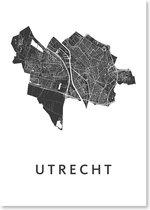 Kunst In Kaart Utrecht - Stadskaart Poster A3 - Wit