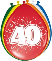 8x stuks Ballonnen versiering 40 jaar leeftijd thema feestartikelen