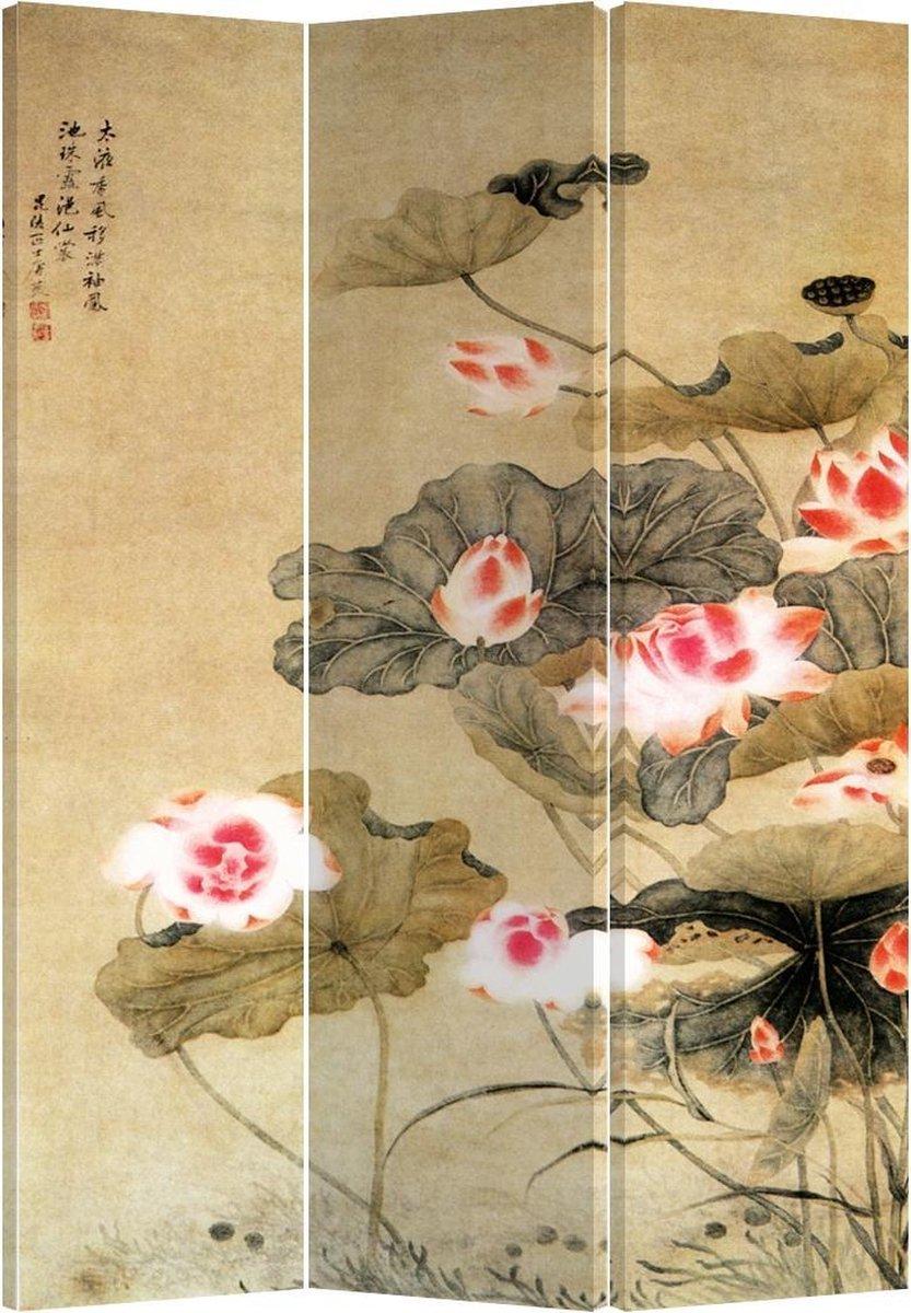 Orientique Kamerscherm 3 Panelen Water Lotus Canvas Room Divider Scheidingswand - Orientique