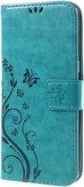 Book Case Hoesje Bloemen Samsung Galaxy S7 Edge - Blauw