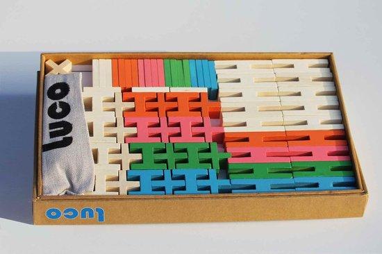 Luco Toys Gekleurde Houten Blokken en Plankjes - 65 Stuks