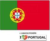 Portugese vlag met 2 gratis Portugal stickers