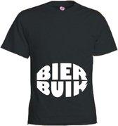 Mijncadeautje T-shirt - Bierbuik - unisex Zwart (maat L)
