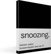 Snoozing - Katoen-satijn - Kussenslopen - Set van 2 - 50x70 cm - Zwart